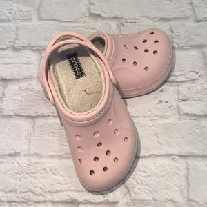 Pink Fur Crocs Size 2 / 4 Very Cute With Inserts..